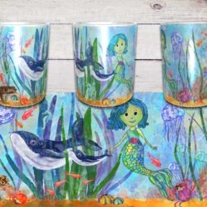 """Mermaids Tale """"Blue"""" mug by Artist Loren"""